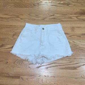 Brandy Melville cream off-white denim mom shorts
